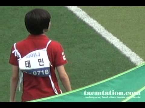 100914 Taemin playing football (soccer) @ Idol Sport Competition