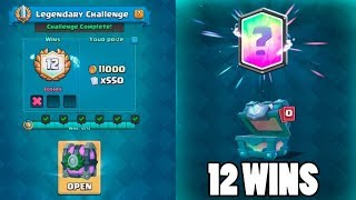 12 WINS LEGENDARY CHALLENGE :: Clash Royale :: LEGENDARY CHEST OPENING AND ROYAL GHOST DECK!