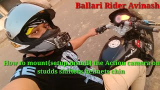 How to mount{setup,install } the Action camera on studds shifter helmets chin.