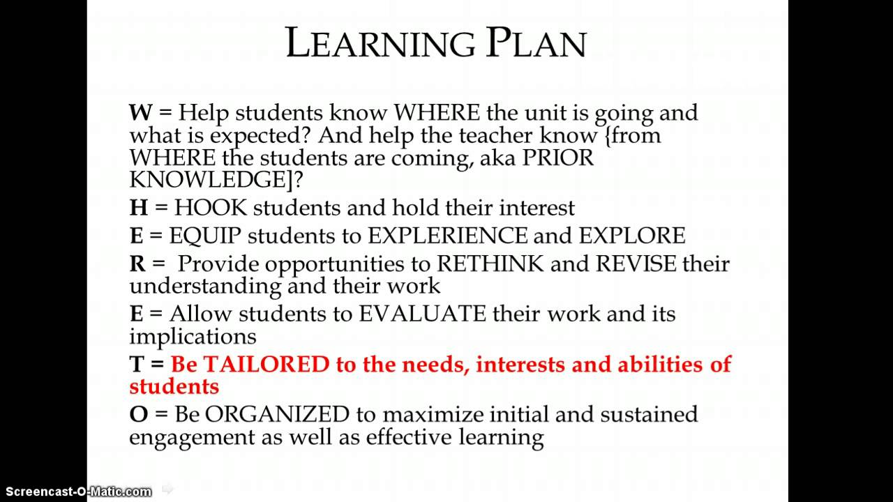 UbD Part III: The Learning Plan - YouTube