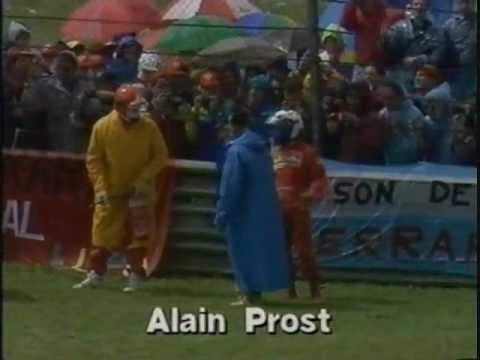 Alain Prost spins off and retires during the warm up lap in the wet at Imola. Berger also spins at the same spot but recovers and starts the race.