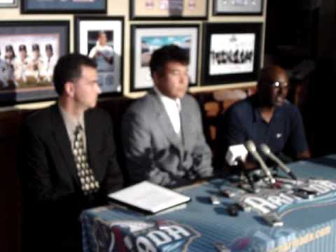 Former Major League pitcher Hideki Irabu joins the Long Beach Armada for the 2009 season. Press conference with an overwhelming number of Japanese media.