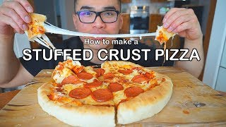 How to make a STUFFED CRUST PIZZA  * EXTRA CHEESY