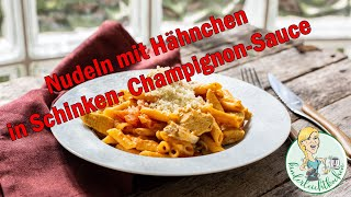 Hähnchenbrust mit Nudeln in Schinken-Champignon-Sauce all-in-one im Thermomix