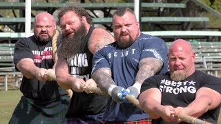 World's Strongest Men in a Tug o' War Challenge at Braemar Gathering Highland Games site in Scotland