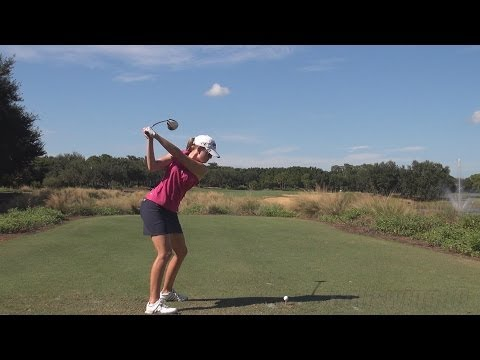 PAULA CREAMER - DRIVER BALL FLIGHT DTL GOLF SWING - LATE 2013 REGULAR & SLOW MOTION - 1080p HD