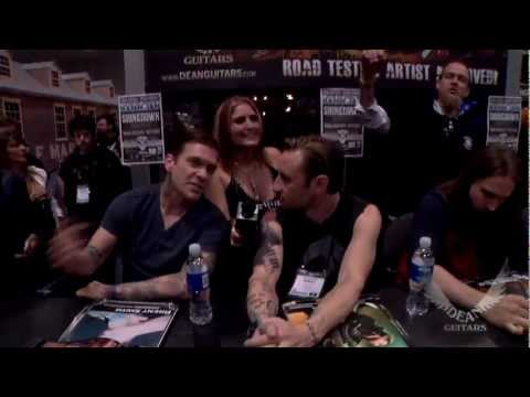 Dean Guitars Artists Eric Bass of Shinedown and Eddie Veliz of Kyng at 2013 NAMM. Kyng Performs.