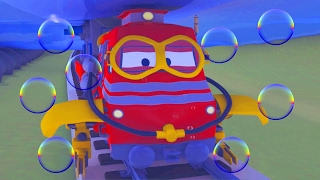 Troy The Train against The Giant Flood in Train Town | Cars & Trucks construction cartoon