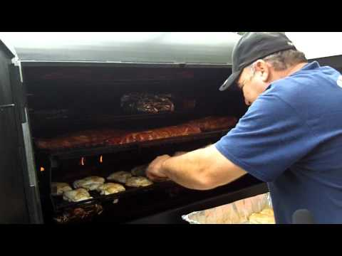 Andy shows off his rotiserie smoker from American Barbecue