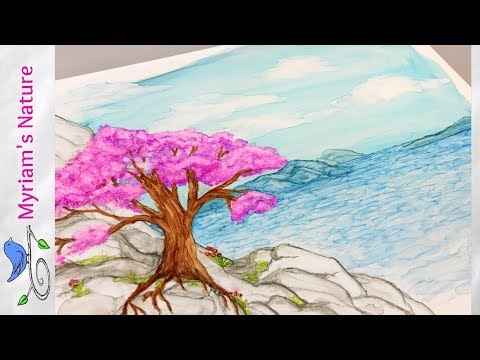 134]  Painting an ALCOHOL INK Tree by the Sea - Step by Step Tutorial  - Piñata Inks
