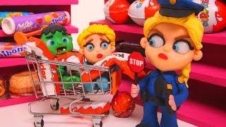 Frozen Elsa Police At The Supermarket  ❤ Superhero & Frozen Elsa Play Doh Cartoons For Kids
