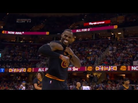 LeBron James rips sleeves off his jersey (Knicks vs Cavs) - HD