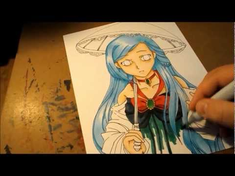 Umbrella Anime Girl Coloring With Copic And Prismacolor