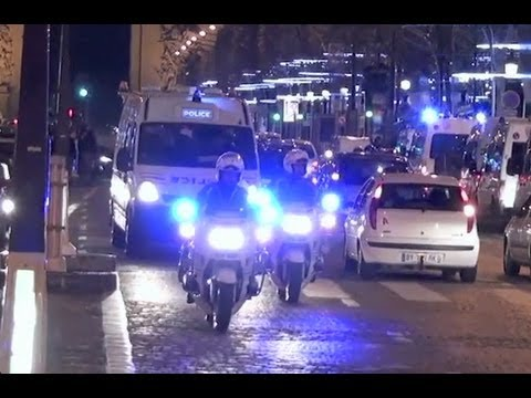 Police Motorcycle Escort Against Traffic on Champs Elysées Music Videos
