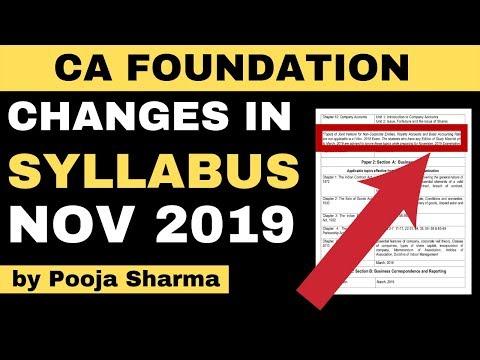 CA Foundation Syllabus Nov 2019 | Changes in CA Foundation Syllabus