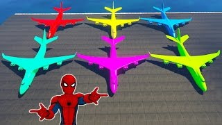✈ COLORS BIGGEST AIRPLANE TRANSPORTATION & SPIDERMAN SMASH PARTY - GTA V MODS