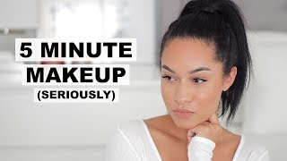 QUICK & EASY 5 MINUTE MAKEUP! LESS THAN 5 PRODUCTS (Real Time)