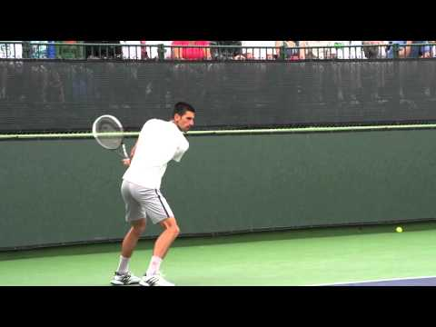 Novak Djokovic Forehand and Backhand from Side View - Indian Wells 2013