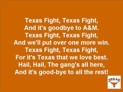 "Click to hear and sing-a-long with the University of Texas Longhorns fight song ""Texas Fight"". Visit www.your-fun-stop.com for fun on the Internet!!!"