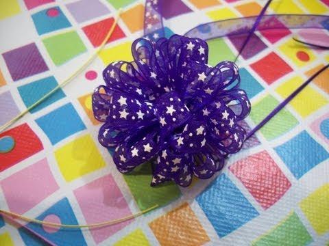 Como Hacer Flores o Moños de Liston Con Telar Circular Para Flor ✿◕‿◕✿