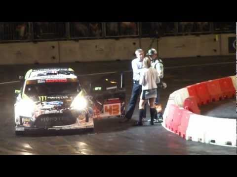 Top Gear Live 2012 with 90's Rally Cars & Ken Block challenging fastest lap times.