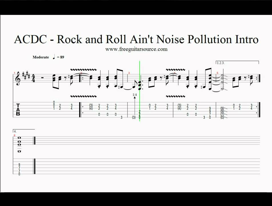 Tab Rock And Roll Ain't Noise Pollution Acdc Rock And Roll Ain't