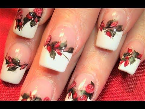 Nail Art Designs - Red Roses Diy Tutorial video