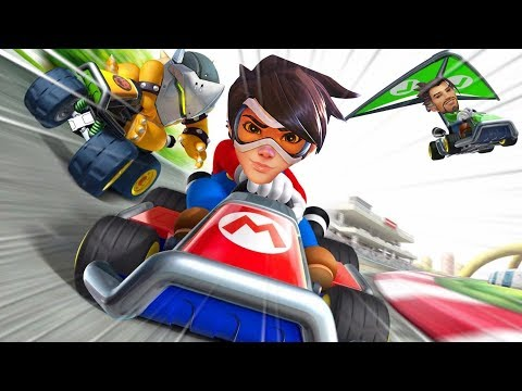 Amazing *NEW* Mario Kart Game Mode..!! - Overwatch Workshop Funny Moments & Fails #12