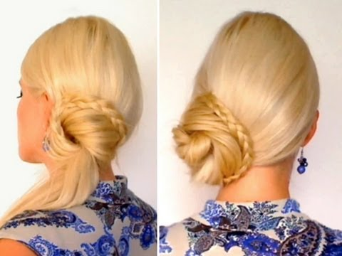 Braided ponytail hairstyle for long hair tutorial Top knot everyday updo for work. school