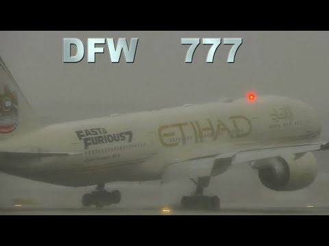 Bad Weather at DFW for Etihad  Qatar BOEING 777s