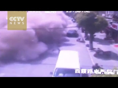 Shanghai house collapse caught on camera