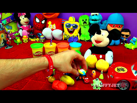 30 Surprise Eggs! Play Doh MICKEY MOUSE Peppa Pig Frozen Disney Cars Mario LPS Kinder MLP FluffyJet