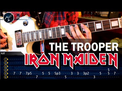 Como tocar The Trooper IRON MAIDEN en guitarra electrica HD Tutorial
