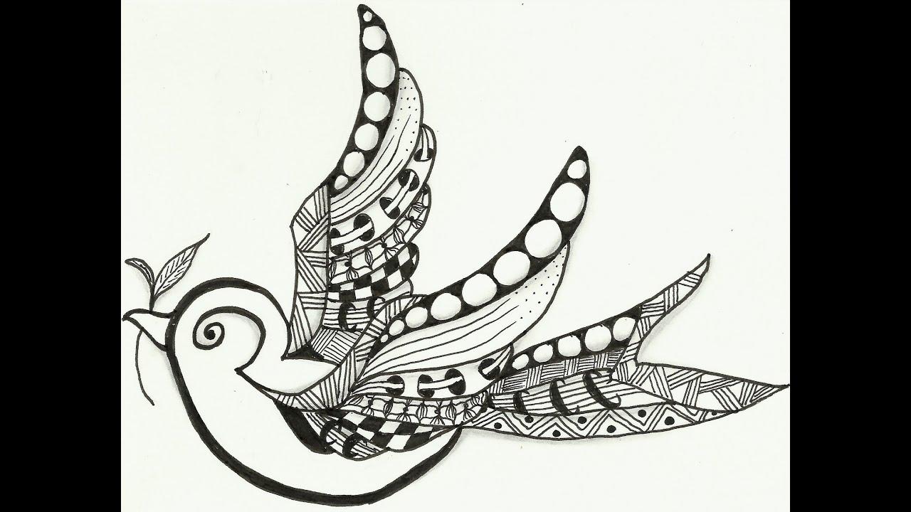 Three Little Birds Drawing Little Bird Zentangle