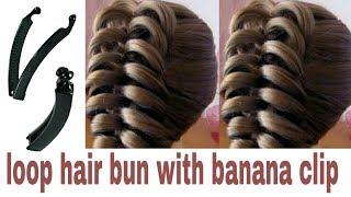 Loop hair bun with BANANA CLIP for wedding || Cute n unique hair bun for girls | Stylopedia