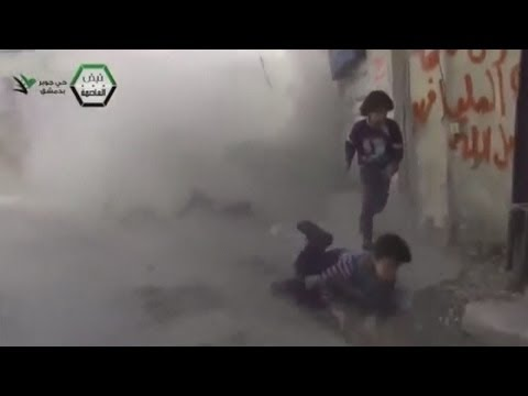 Syrian children narrowly escape shelling explosion in Damascus