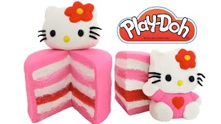 Play Doh How to Make a Hello Kitty Layer Cake RainbowLearning