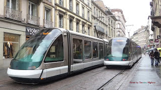 Trams à Strasbourg, France - 1080p