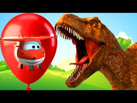 Dinosaur Dancing cartoons for kids Learn with Super Wings balloons popping for kids
