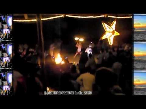 RUDY ROOTS SELEKTA ft mc - dancehall beach fireshow pt4 @ goa anjuna beach \ 24 dec 2012