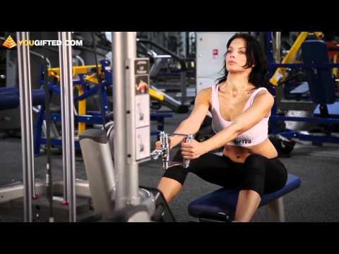 Фитнес. Упражнения для спины. Тяга нижнего блока.