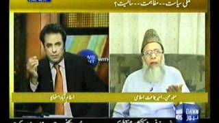 Syed Munawar Hasan With Talat Husain - Best Arguments Against US Intervention In Pakistan