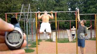63 pull ups in 60 sec with leg assist. cam1