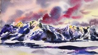 Time Lapse Watercolor Snow Mountains Sunset by Untamed Little Wolf