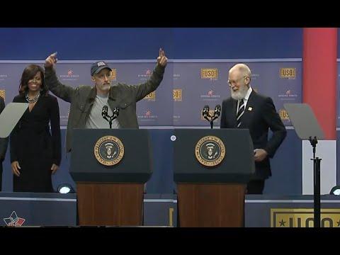 Bearded David Letterman & Jon Stewart Crack Up USO