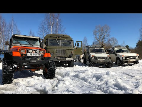 Jeep на порталах, Нивы на тракторах, ГАЗ-66, и другие, на новом маршруте - Морье 3