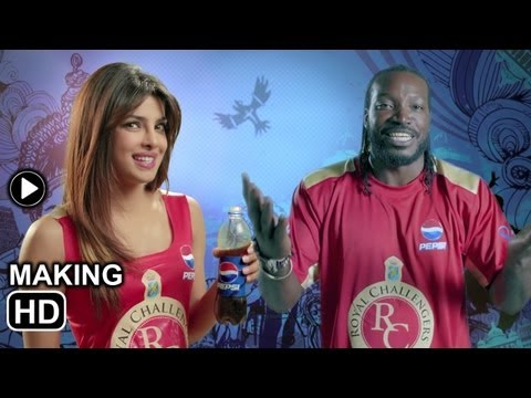 Chris Gayle and Priyanka Chopra in making of IPL advertisement