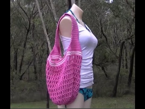 Crochet Bag Youtube : Market Bag 1 Handle Crochet Tutorial - YouTube