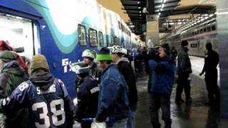 Seahawks Fans Waiting for the Sounder Train During Snow Storm