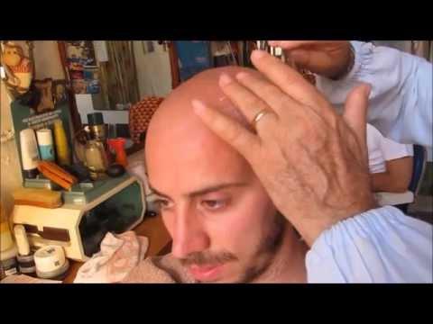 Cock hardon barber shave